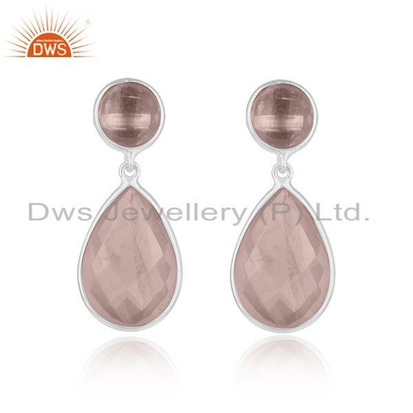 Rose Gold Plated Sterling Silver Quartz Gemstone Earrings Wholesaler