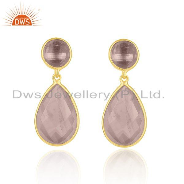 14k Gold Plated 925 Silver Rose Quartz Gemstone Drop Earrings Supplier