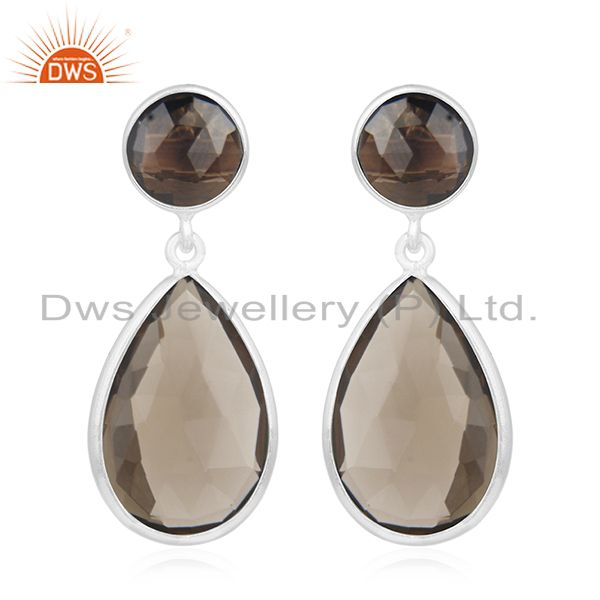 Fine Sterling Silver Smoky Quartz Gemstone Earrings Manufacturer of Jewelry