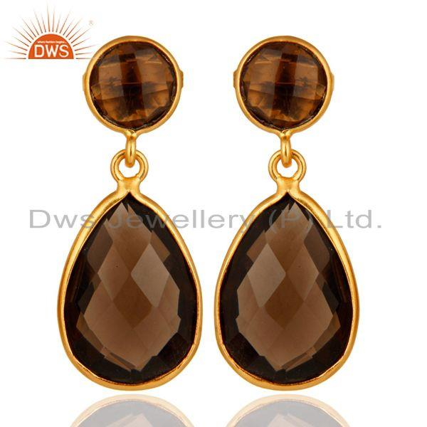 Faceted Smoky Quartz Gemstone Bezel Drop Earrings - Gold Plated Sterling Silver