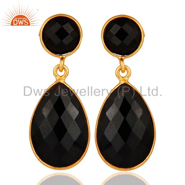 925 Sterling Silver Faceted Gold Plated Black Onyx Gemstone Drop Earrings