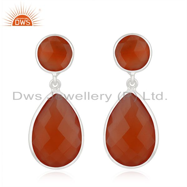 Private Label 925 Sterling Silver Red Onyx Gemstone Earring Manufacturer