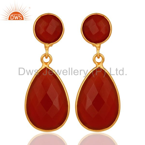 18K Gold Plated Sterling Silver Faceted Red Onyx Gemstone Double Drop Earrings