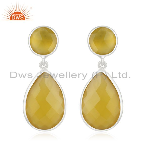 Yellow Chalcedony Gemstone 925 Sterling Silver Dangle Earring Manufacturers