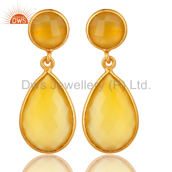 Yellow Chalcedony Stone Bezel Set Drop Earrings In 18K Gold Over Sterling Silver