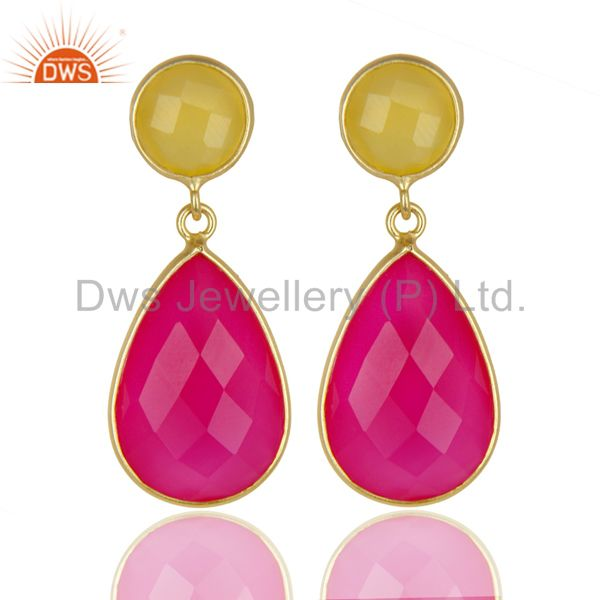 14K Gold Plated 925 Sterling Silver Dyed Yellow Pink Chalcedony Drops Earrings