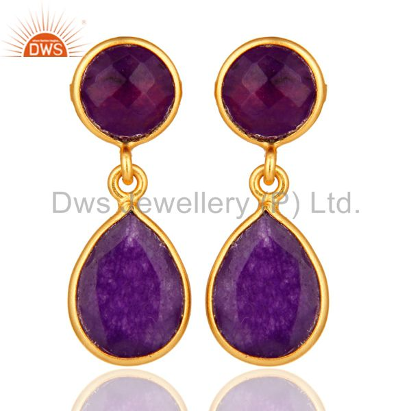 Purple Chalcedony Gemstone Sterling Silver Drop Earrings - Gold Plated