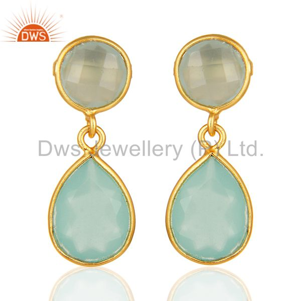 14K Gold Plated Sterling Silver Dyed Aqua Blue Chalcedony Bezel Set Drop Earring