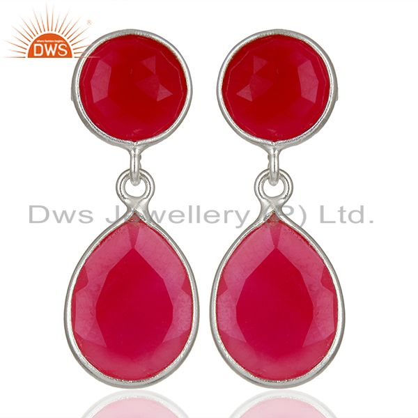 Pink Chalcedony Gemstone Sterling Silver Drop Earrings Supplier