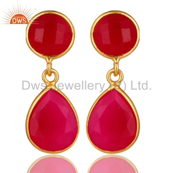 18K Yellow Gold Plated Sterling Silver Pink Chalcedony Bezel Set Drops Earrings