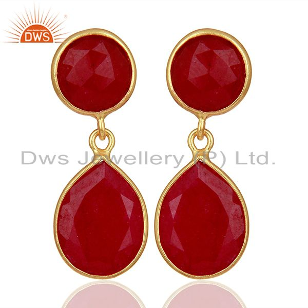 Red Gemstone Gold Plated 925 Silver Drop Earrings Manufacturers