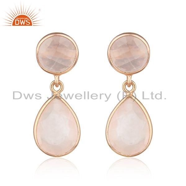 Dangle Design Rose Gold Plated Silver Rose Quartz Earrings Jewelry