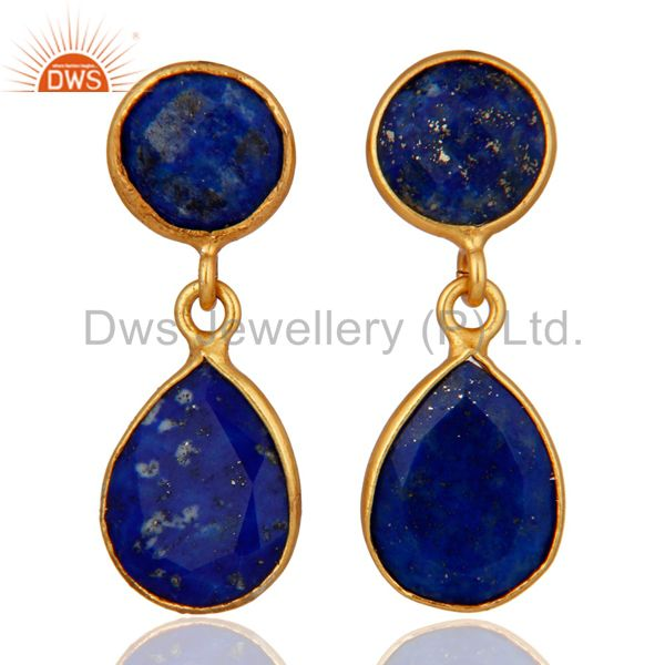 18K Yellow Gold Plated Sterling Silver Sodalite Gemstone Bezel Dangle Earrings