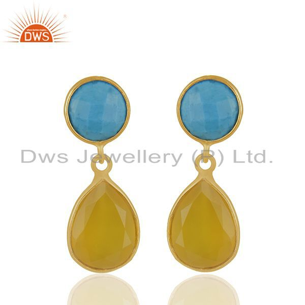 Turquoise and Yellow Chalcedony Gemstone 925 Silver Earrings Wholesale