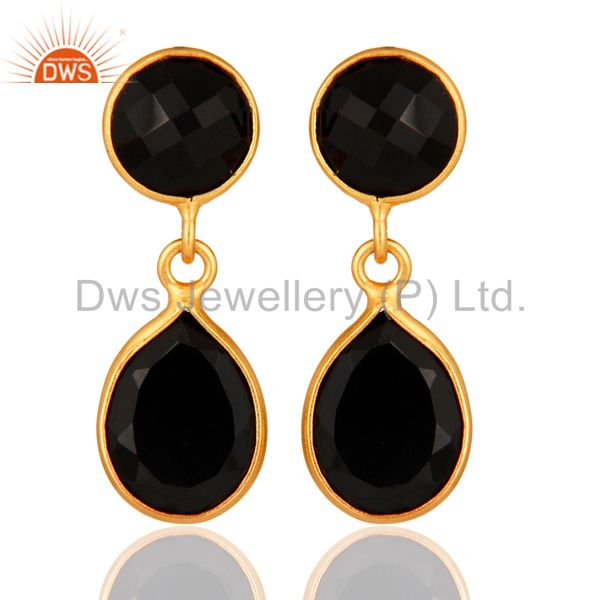 22K Yellow Gold Plated Black Onyx 925 Sterling Silver Gemstone Drop Earrings