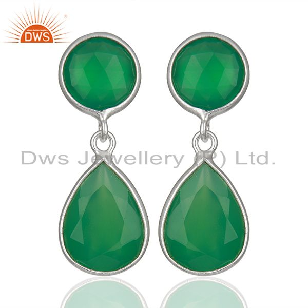 Green Onyx Gemstone 925 Sterling Silver Drop Earrings Manufacturers