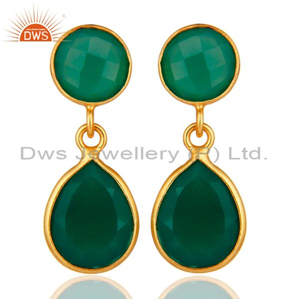 14-Karat Gold Plated Sterling Silver Green Onyx Gemstone Drop Earrings