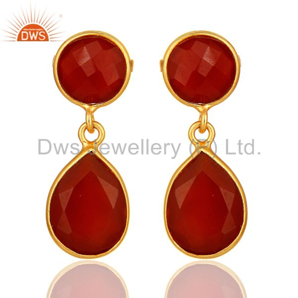 14K Yellow Gold Plated Sterling Silver Red Onyx Bezel Set Gemstone Drop Earrings