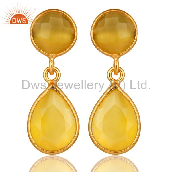 Bezel Set Yellow Moonstone Double Drop Earrings In 18K Yellow Gold Over Silver