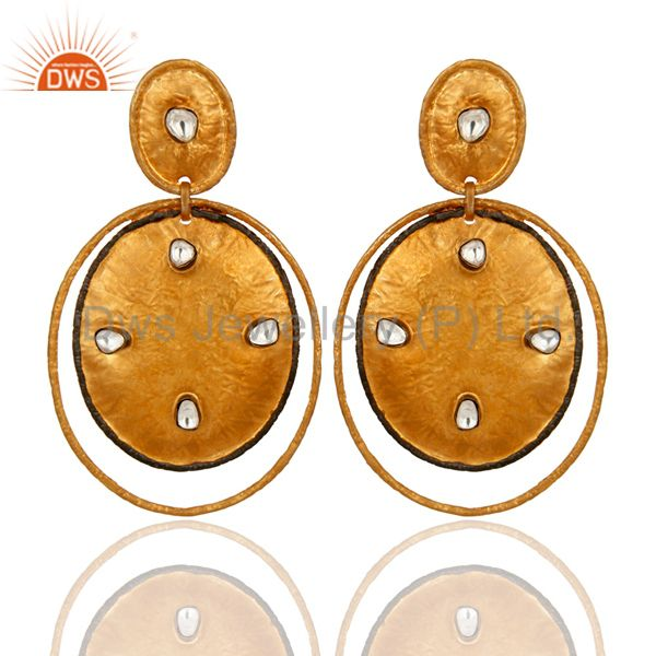 """24K Gold Plated Sterling Silver """"Plated Style"""" Crystal Quartz Designer Earrings"""