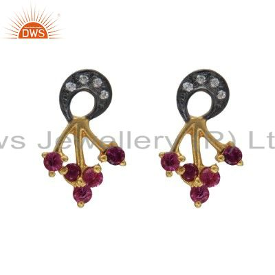 Handmade 18K Gold Plated Sterling Silver White & Red Cubic Zirconia Post Earring