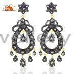 Victorian Sterling Silver Polki Crystal Quartz Antique Look Chandelier Earrings