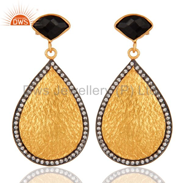 18K Yellow Gold Plated Brass Black Onyx And Cubic Zirconia Dangle Earrings