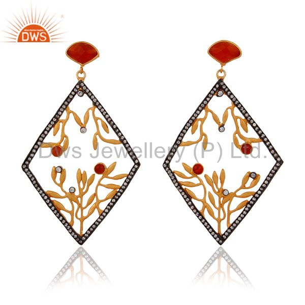 18K Yellow Gold Over Brass Cubic Zirconia And Carnelian Designer Earrings
