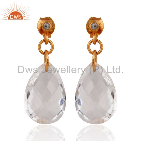 Natural Crystal Clear Quartz Faceted Teardrop Earrings in 18k Gold Over Silver