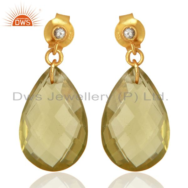 18K Yellow Gold Plated Sterling Silver Lemon Topaz Drop Earrings With White Topa