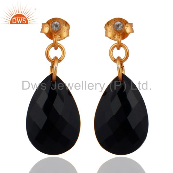 24k Gold Platd 925 Sterling Silver Black Onyx Gemstone CZ Tear Drop Earrings