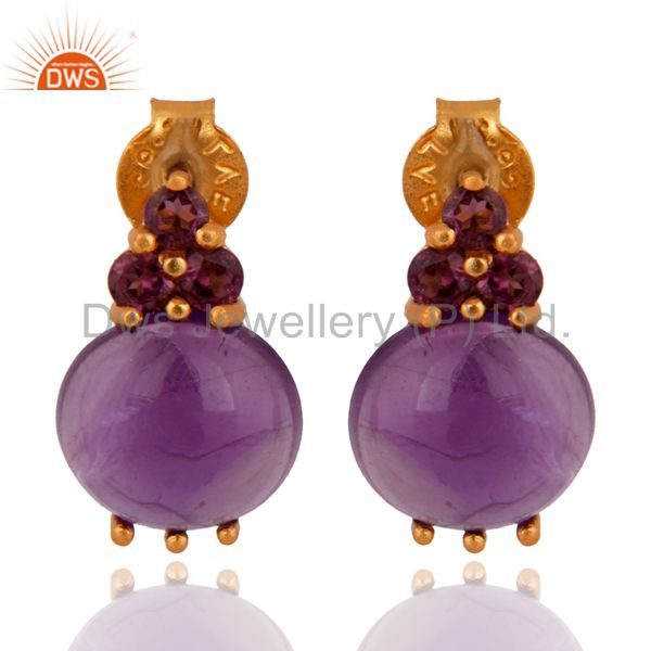 Amethyst Gemstone 925 Sterling Silver Gold Plated Stud Earring With Ruby Jewelry
