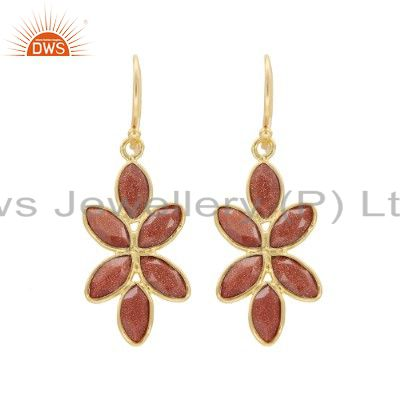 22K Yellow Gold Plated Sterling Silver Red Sun Sitara Dangle Earrings