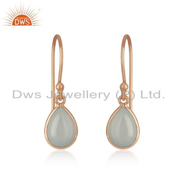 Aqua Chalcedony 14k Rose Gold Plated 925 Silver Gemstone Drop Earrings Wholesale