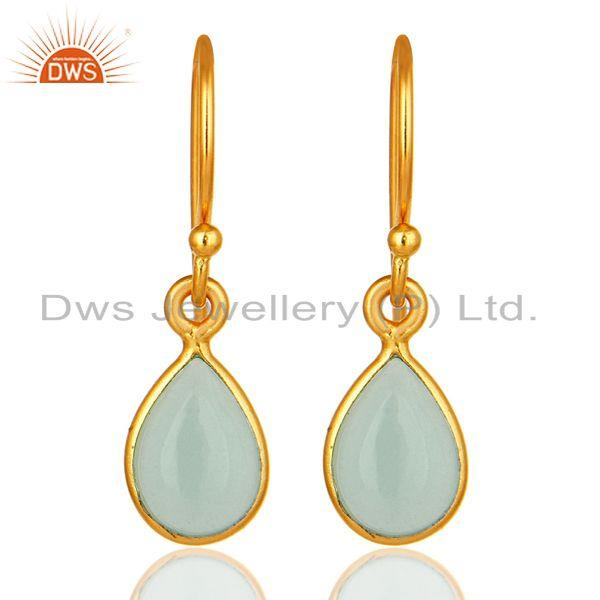 Aqua Blue Glass Chalcedony Bezel Set Drop Earrings Made In 18K Gold Over Silver