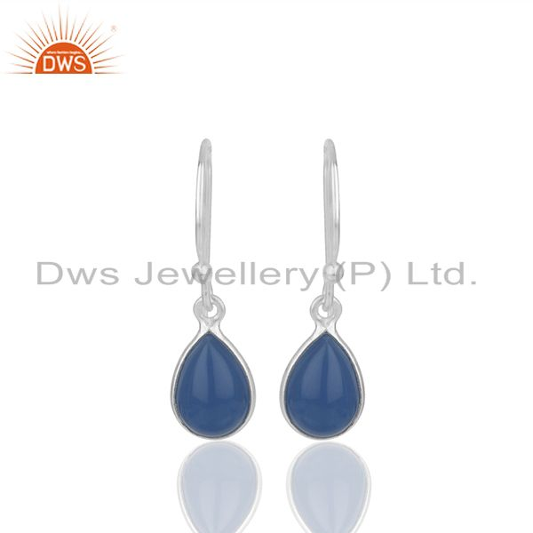 Sterling Silver Blue Chalcedony Gemstone Earrings Jewelry Supplier