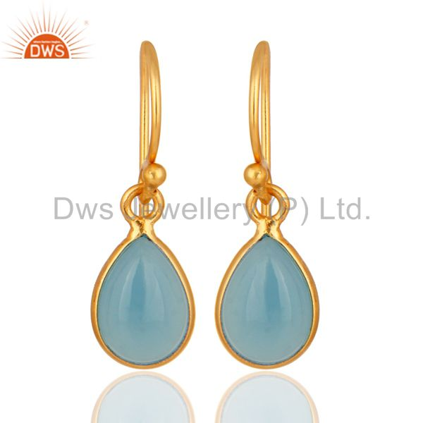 18K Yellow Gold Plated Solid Silver Aqua Chalcedony Bezel Setting Drop Earrings