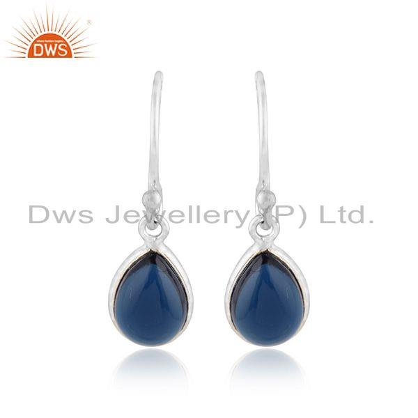 Blue corundum gemstone white rhodium plated silver hook earrings