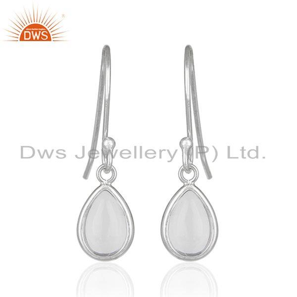 Crystal Quartz 925 Sterling Fine Silver Simple Drop Earrings Manufacturer India