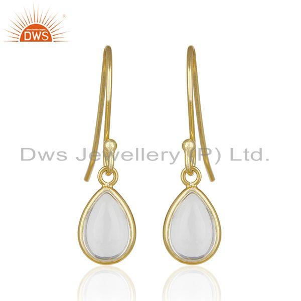 14k Gold Plated 925 Silver Crystal Quartz Baby Girls Earrings Wholesale