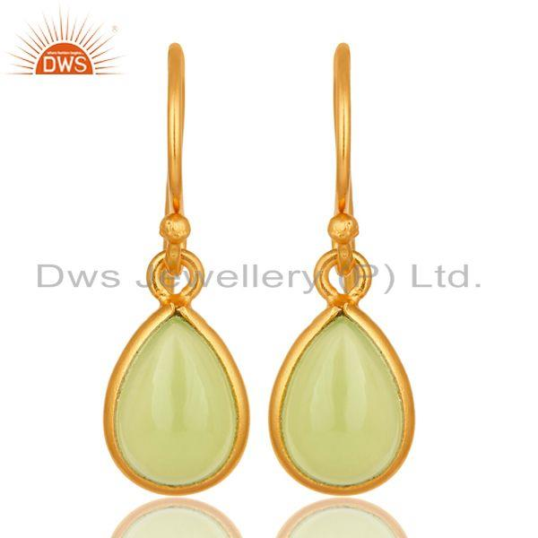 18K Yellow Gold Plated Sterling Silver Dyed Chalcedony Gemstone Drop Earrings