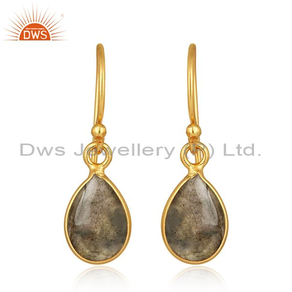 Natural Labradorite Gemstone Gold Plated 925 Silver Simple Drop Earring Supplier