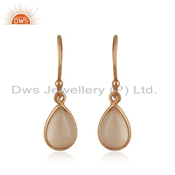 Rose Gold Plated 925 Silver Rose Chalcedony Gemstone Earrings Jewelry