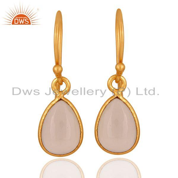 22K Gold Plated 925 Sterling Silver Rose Chalcedony Gemstone Bezel Drop Earring