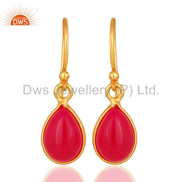 Natural Pink Aventurine Gemstone Drop Earrings In 14K Gold Over Sterling Silver