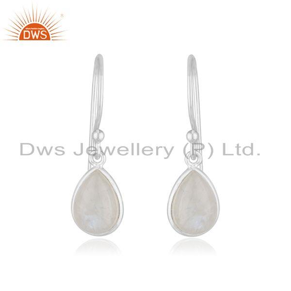 Rainbow Moonstone Sterling Silver Simple Drop Earrings Manufacturer India