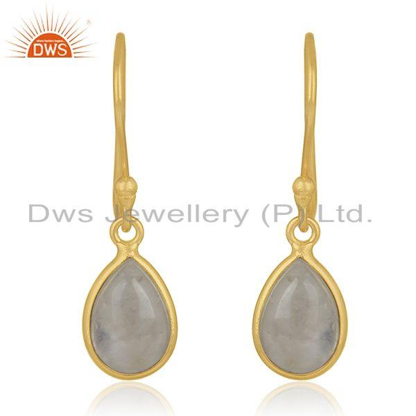 92.5 Sterling Silver Gold Plated Rainbow Moonstone Drop Earring Manufacturer