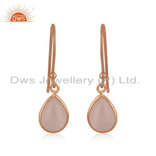Rose Quartz Gemstone 925 Silver Rose Gold Plated Designer Earring Jewelry
