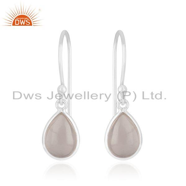 925 Sterling Silver Rose Quartz Gemstone Baby Girls Earrings Manufacturer