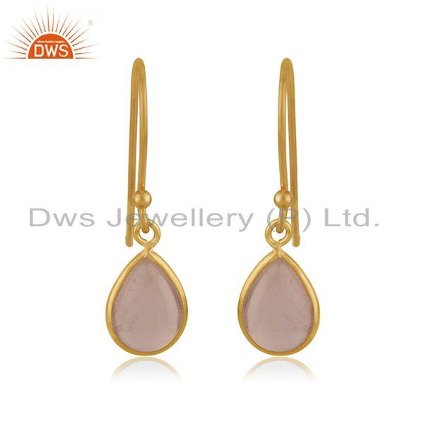 Rose Quartz Gemstone Yellow Gold Plated 925 Sterling Silver Earring Jewelry